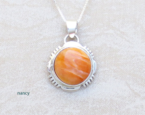 Image 0 of  Spiny Oyster & Sterling Silver Pendant Native American Jewelry - 4956at