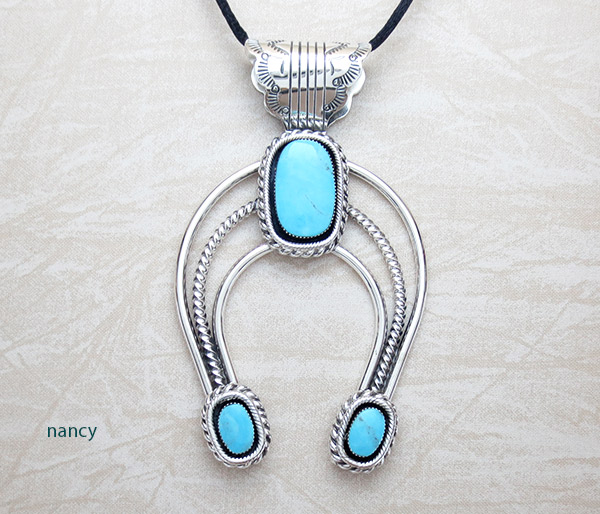 Image 0 of BIG Turquoise & Sterling Silver Naja Pendant Native American Jewelry - 4593rb
