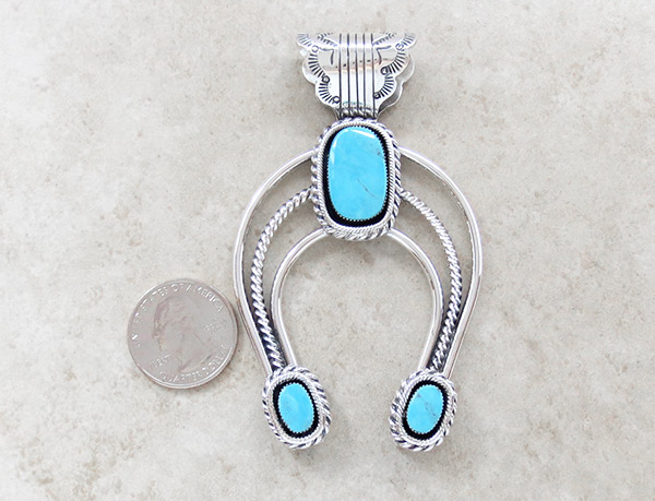 Image 1 of BIG Turquoise & Sterling Silver Naja Pendant Native American Jewelry - 4593rb