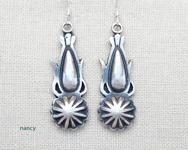 Sterling Silver Earrings Native American Navajo Jewelry - 4798rb