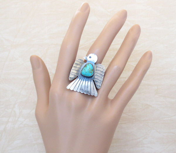 Image 1 of   Native American Jewelry Turquoise & Sterling Silver Ring Sz 9.5 - 4769rb
