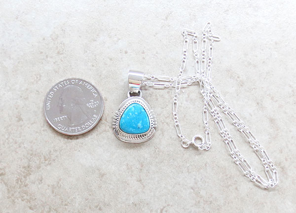 Image 1 of   Kingman Turquoise Pendant Native American Jewelry - 4799sn