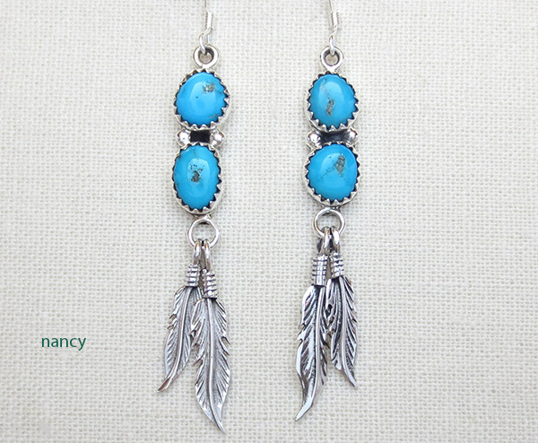 Turquoise & Sterling Silver Feather Earrings Native American Jewelry - 4773rb
