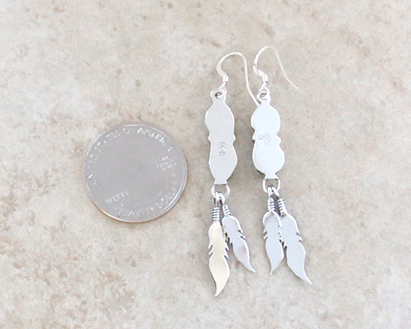 Image 2 of    Turquoise & Sterling Silver Feather Earrings Native American Jewelry - 4773rb