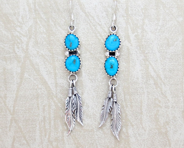 Image 0 of    Turquoise & Sterling Silver Feather Earrings Native American Jewelry - 4773rb
