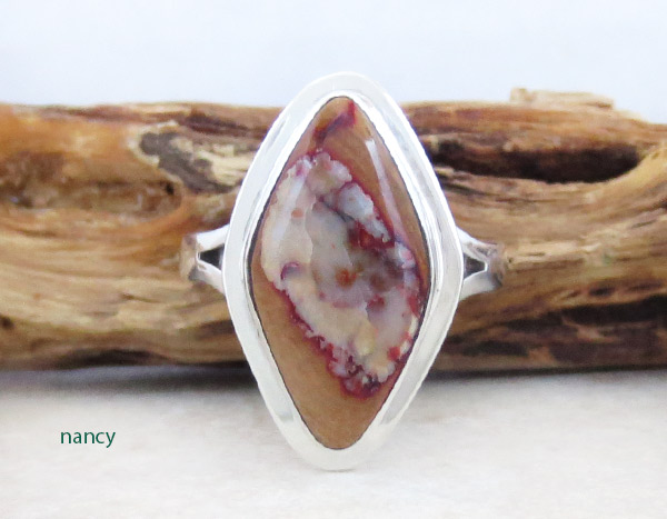 Mammoth Tooth Stone & Sterling Silver Ring Size 8 Navajo - 5320sn