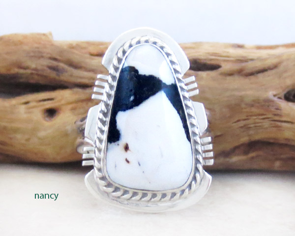 Image 0 of White Buffalo Stone & Sterling Silver Ring Sz 6.75 Navajo Jewelry - 5324sn