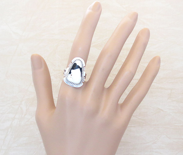 Image 1 of White Buffalo Stone & Sterling Silver Ring Sz 6.75 Navajo Jewelry - 5324sn