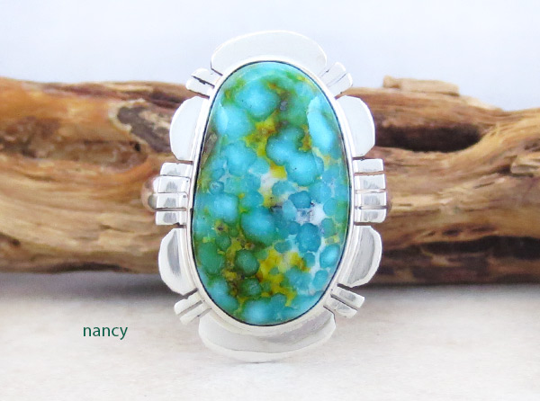 Turquoise & Sterling Silver Ring Sz 9 Native American Jewelry - 4960sn