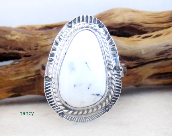 Navajo Jewelry White Buffalo Stone & Sterling Silver Ring Sz 8 - 4958sn