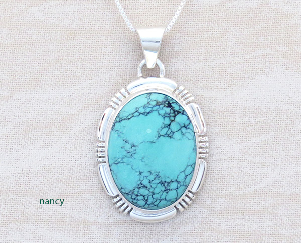 Image 0 of   Turquoise & Sterling Silver Pendant Native American Jewelry - 4772at