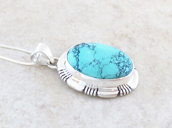 Image 2 of   Turquoise & Sterling Silver Pendant Native American Jewelry - 4772at