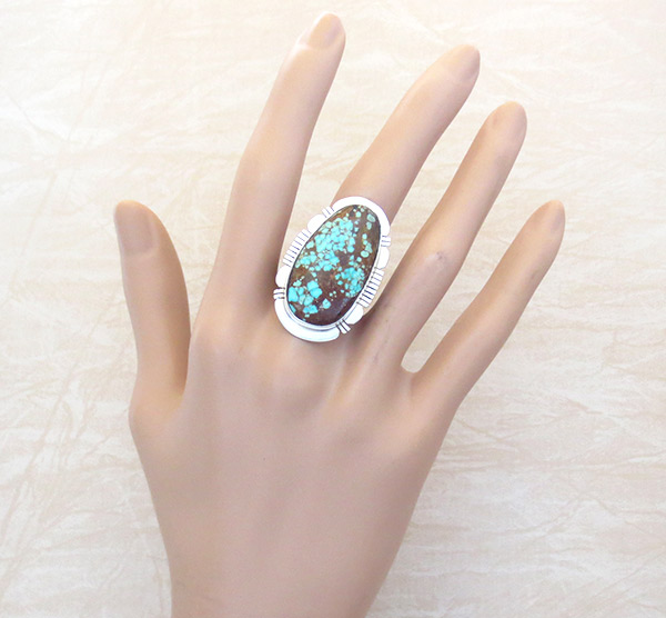 Image 1 of Native American Jewelry #8 Mine Turquoise & Sterling Silver Sz 9.25 - 4962sn