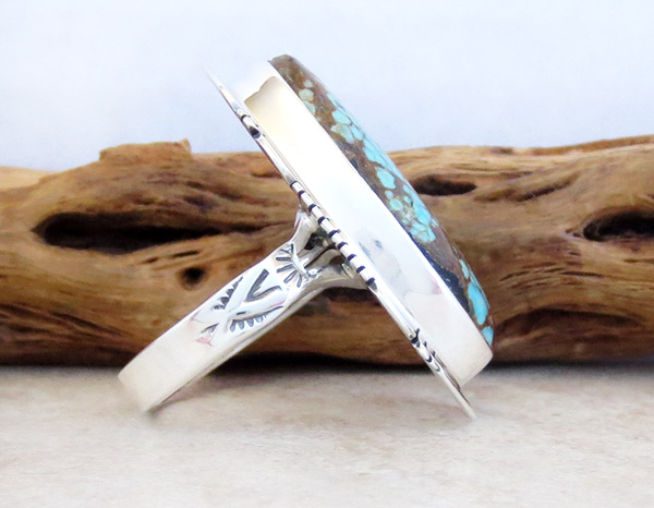 Image 2 of    Native American Jewelry #8 Mine Turquoise & Sterling Silver Sz 9.25 - 4962sn