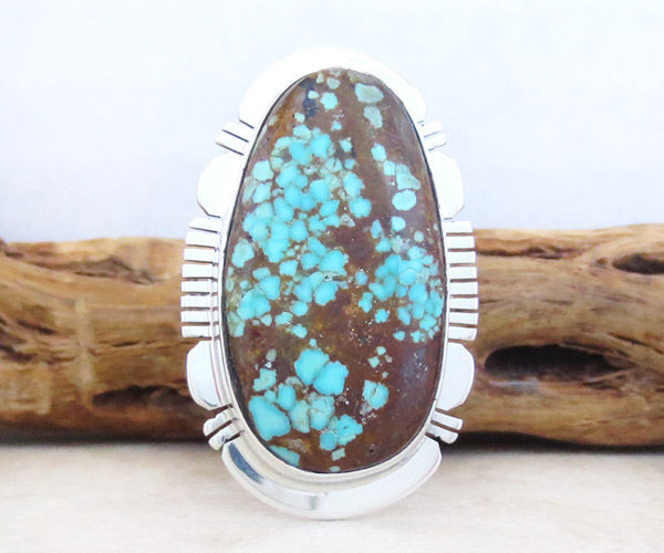 Native American Jewelry #8 Mine Turquoise & Sterling Silver Sz 9.25 - 4962sn