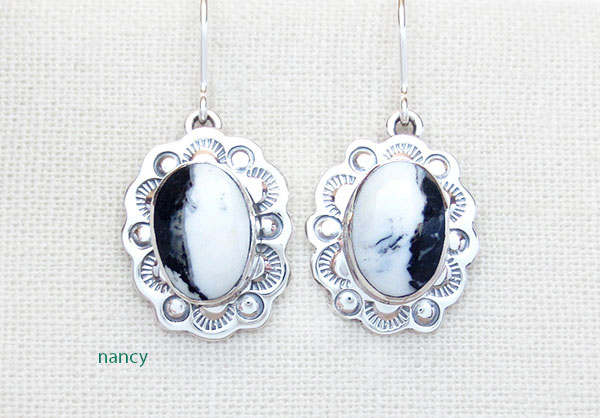 Image 0 of Native American Jewelry White Buffalo Stone & Sterling Silver Earrings  - 3374sn