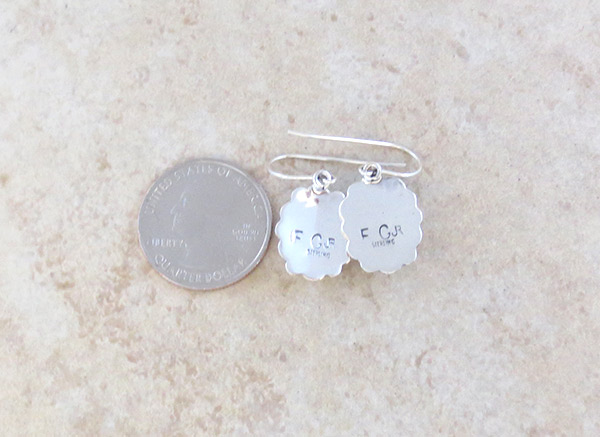 Image 2 of Native American Jewelry White Buffalo Stone & Sterling Silver Earrings  - 3374sn