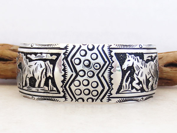 Image 1 of Sterling Silver Overlay Bracelet Native American Richard Singer - 3375rs