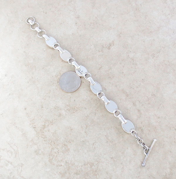 Image 2 of   Spiny Oyster & Sterling Silver Link Bracelet Navajo Jewelry - 3376sn