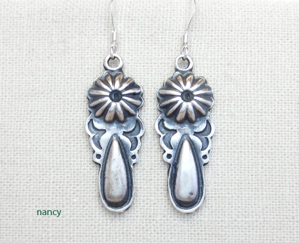 Image 0 of     Sterling Silver Earrings Native American Navajo Jewelry - 3379rb