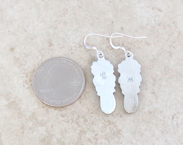 Image 2 of     Sterling Silver Earrings Native American Navajo Jewelry - 3379rb