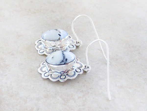 Image 1 of  Native American Jewelry White Buffalo Stone & Sterling Silver Earrings - 5328sn