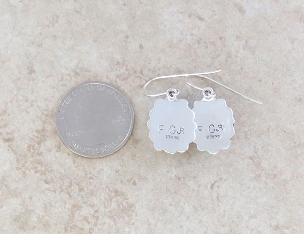 Image 2 of  Native American Jewelry White Buffalo Stone & Sterling Silver Earrings - 5328sn