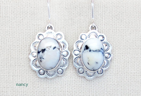 Image 0 of  Native American Jewelry White Buffalo Stone & Sterling Silver Earrings - 5328sn