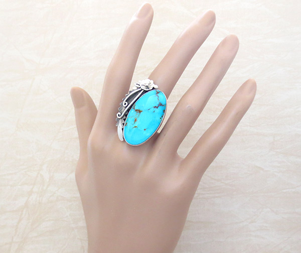 Image 1 of      Turquoise & Sterling Silver Ring Sz 9 Native American Jewelry - 4967pl
