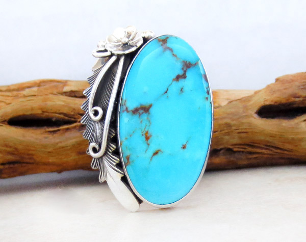Turquoise & Sterling Silver Ring Sz 9 Native American Jewelry - 4967pl