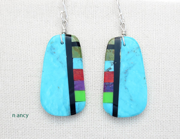 Image 0 of          Turquoise & Stone Slab Earrings Native American Jewelry - 4965pl
