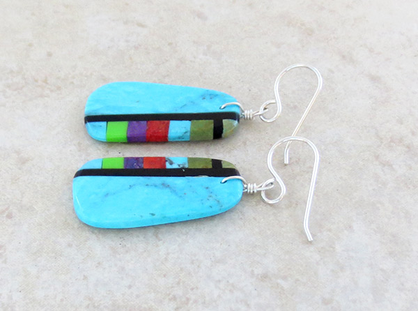 Image 1 of          Turquoise & Stone Slab Earrings Native American Jewelry - 4965pl