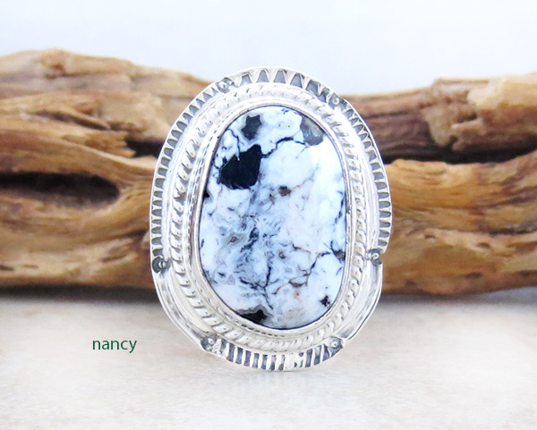 Navajo Jewelry White Buffalo Stone & Sterling Silver Ring Sz 6 - 4681sn