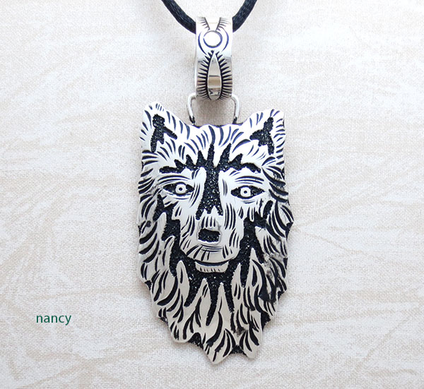 Image 0 of    Sterling Silver Overlay Wolf Pendant Native American Jewelry - 5329rb