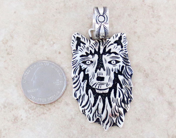 Image 1 of    Sterling Silver Overlay Wolf Pendant Native American Jewelry - 5329rb