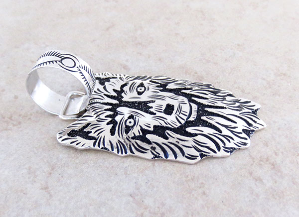 Image 2 of    Sterling Silver Overlay Wolf Pendant Native American Jewelry - 5329rb
