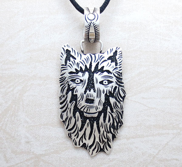 Sterling Silver Overlay Wolf Pendant Native American Jewelry - 5329rb