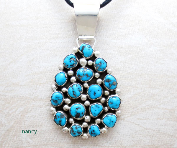 Image 0 of     Native American Jewelry Turquoise Cluster & Sterling Silver Pendant - 5051sn