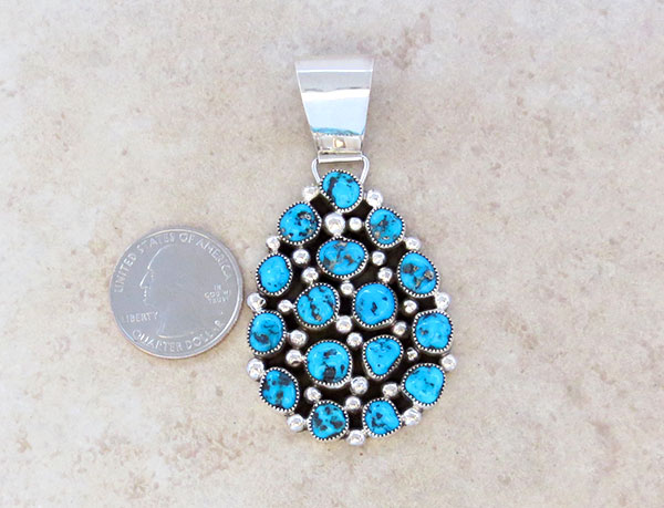 Image 1 of     Native American Jewelry Turquoise Cluster & Sterling Silver Pendant - 5051sn