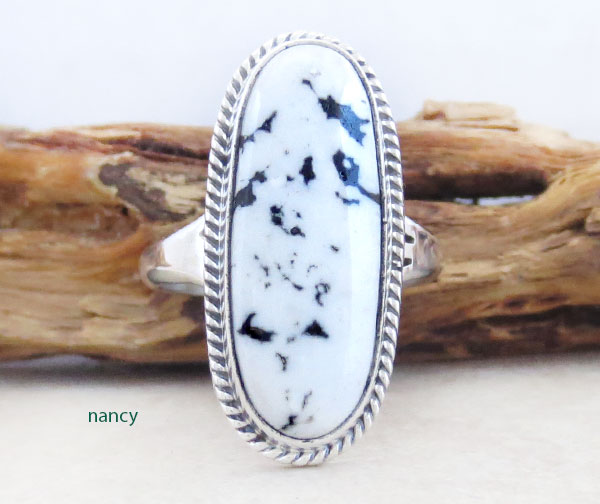 Image 0 of Native American White Buffalo Stone & Sterling Silver Ring Sz 9 - 4964sn
