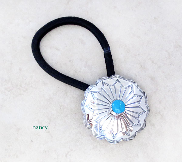 Stamped Sterling Silver Pony Tail Holder w/Turquoise Navajo Jewelry - 5206rb