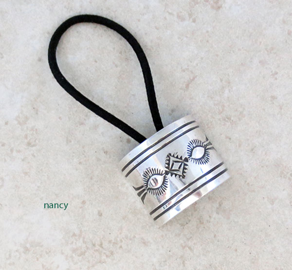 Stamped Sterling Silver Pony Tail Holder Native American Jewelry - 5204sw