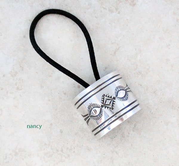 Image 0 of     Stamped Sterling Silver Pony Tail Holder Native American Jewelry - 5204sw