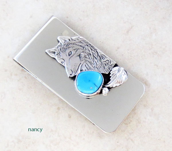 Native American Wolf Money Clip With Turquoise - 5201sn