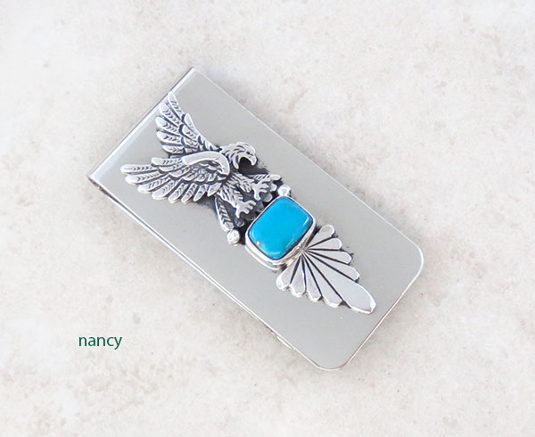Turquoise Silver Eagle Money Clip Native American - 5052sn