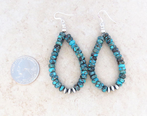 Image 2 of     Turquoise & Sterling Silver Earrings Native American Jewelry - 4776rio