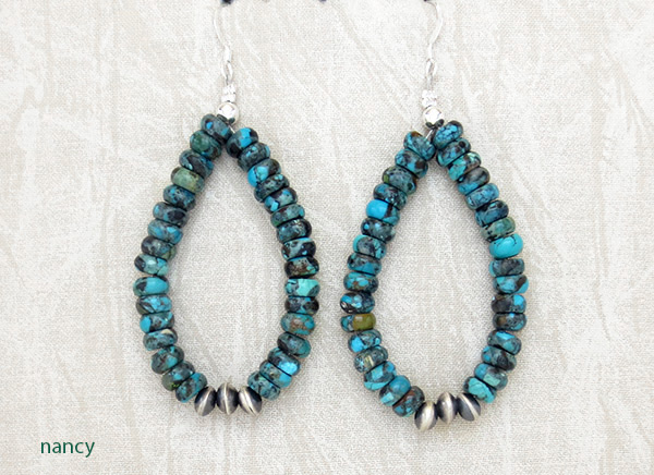 Image 0 of     Turquoise & Sterling Silver Earrings Native American Jewelry - 4776rio