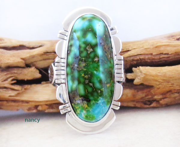 Image 0 of    Turquoise & Sterling Silver Ring Sz 8 Native American Made Jewelry - 4774sn