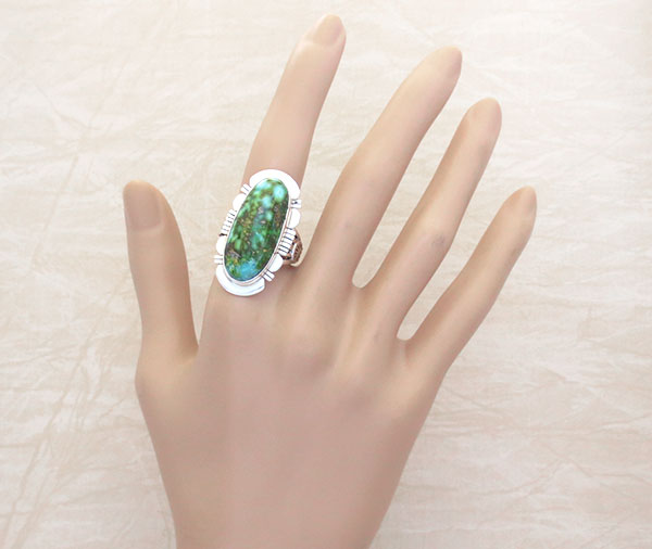 Image 1 of    Turquoise & Sterling Silver Ring Sz 8 Native American Made Jewelry - 4774sn