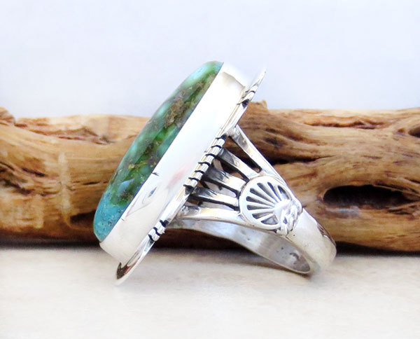 Image 2 of    Turquoise & Sterling Silver Ring Sz 8 Native American Made Jewelry - 4774sn